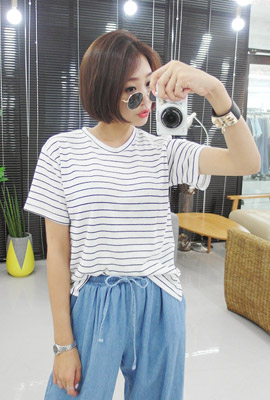 Basic Striped Short Sleeve Tee