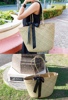Black Strap Straw Bag (HAND MADE)