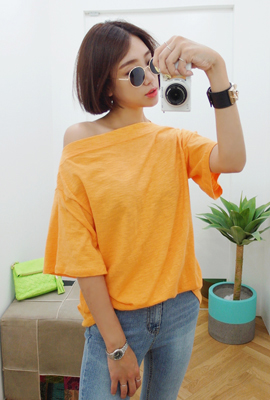 Slab boat neck color short sleeve tee