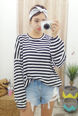 Striped Cotton Loose Tee