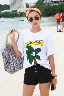 Palm tree printing short sleeve tee