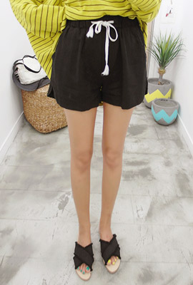 Linen Simple Toe Bending Short Pants