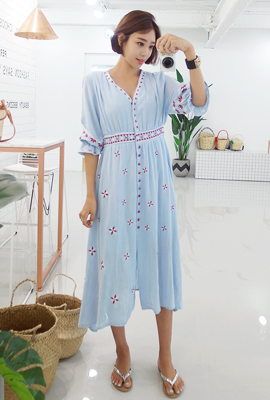 Mix Embroidery Button Long Dress