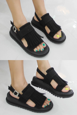 Suede Surgical Buckle Sandals