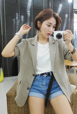 Linen basic short sleeve jacket