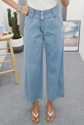 Three Button Wide Denim Pants