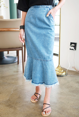 Denim surgery flare long skirt