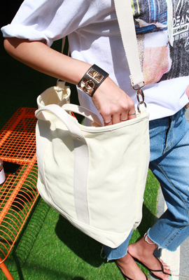 Double line cotton shoulder bag