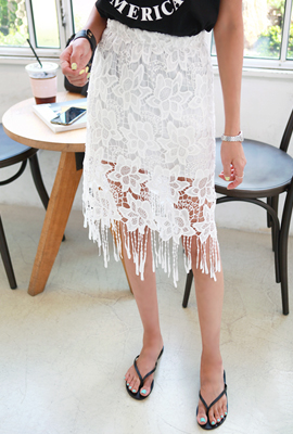 See-through embroidery lace skirt