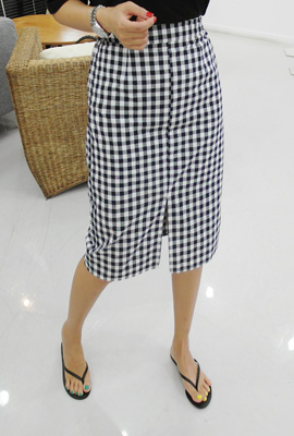 Gingham Linen Midi skirt (6th stock)