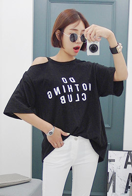 Lettering shoulder top short sleeved tee (second stock)