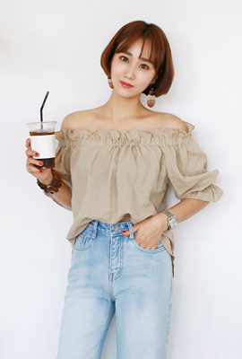 Linen Off-Shoulder Blouse