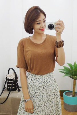 Plain round short sleeves