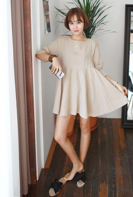 Linen flare mini dress (second stock)