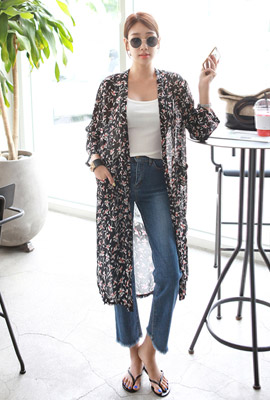 Flower Out Pocketed Robe