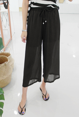 See-through Banding Wide Pants