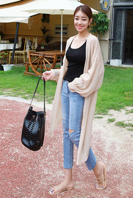 Balloon Sleeve Knit Long Cardigan