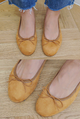 Suede Ribbon Flat Shoes