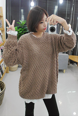 Loose knit round tee (3rd stock)