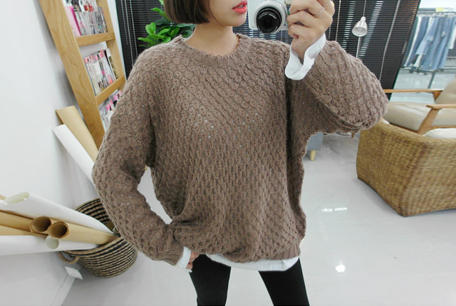 Loose-knit round knit tee (8th stock)