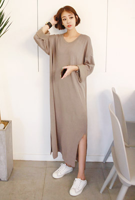 Deep trim knit long dress (9th stock)