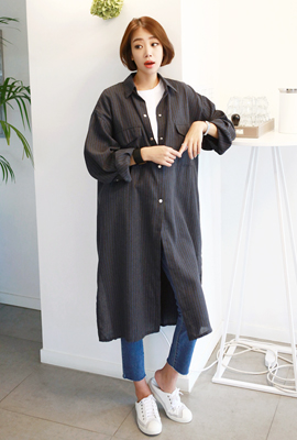 Striped Big Pocket Long Jacket (13th stock)