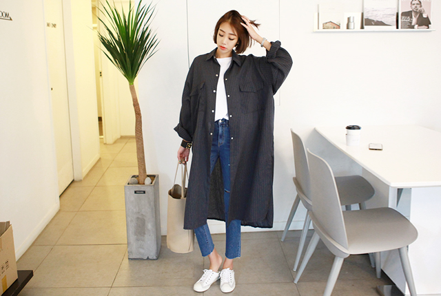 Striped Big Pocket Long Jacket (19th stock)