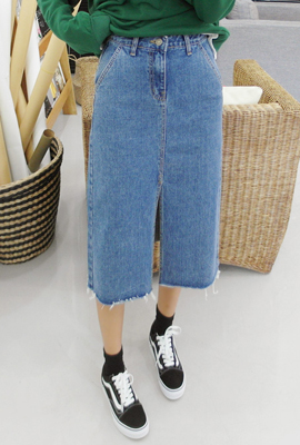 Front twill denim long skirt (3 stock)