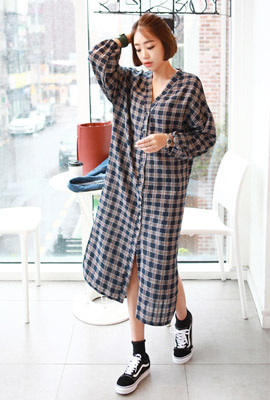 Tartan check button long dress (second stock)