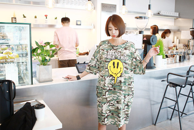 Camo Smile Pocket Dress
