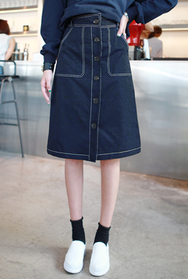 Stitch line button skirt