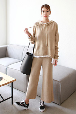 Side slit hood knit set