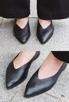 Sharp Leather Flat Shoes