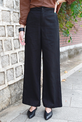 Linen simple wide pants