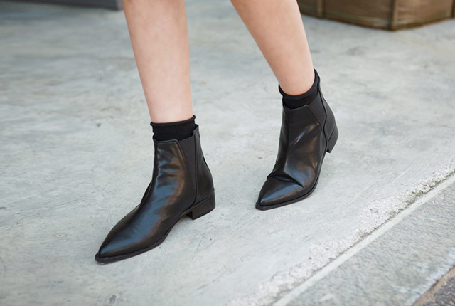 Sharp Leather Ankle Boots