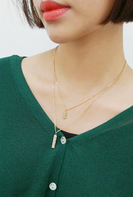 Flat Square Double Necklace