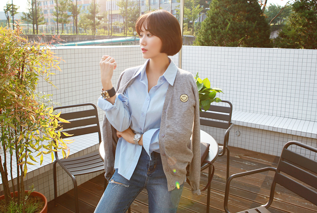 Daily Smile Embroidery Cardigan