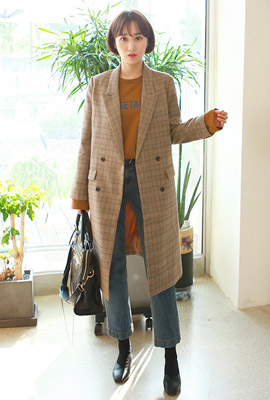 Two Button Check Long Jacket (3rd stock)