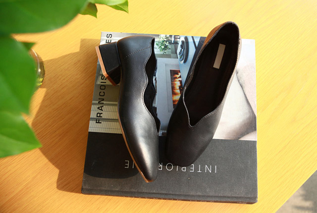 Wave leather middle heel (7th stock)