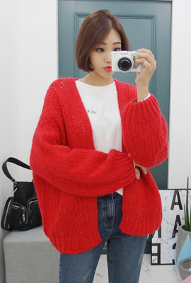 Retail balloon open knit cardigan