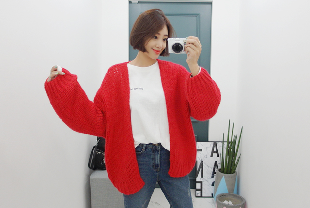 Retail balloon open knit cardigan (second stock)