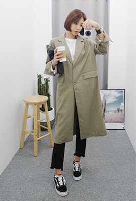 Linen cuff top long jacket
