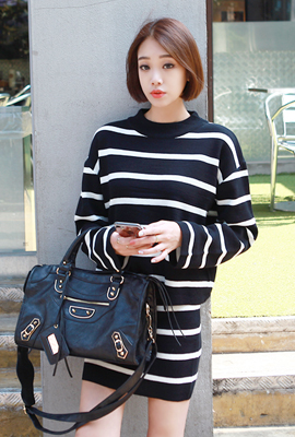 Striped knit skirt set (2nd stock)