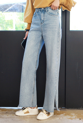 Deep slit wide denim pants