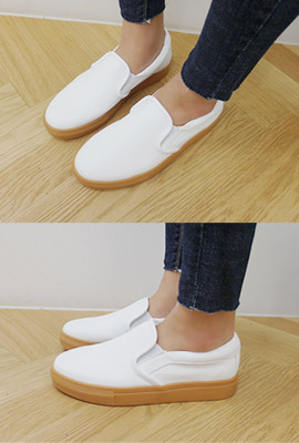 Real leather color slip-on