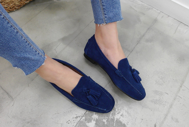 Real suede tassel loafers (second stock)