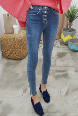 Front button cut skinny jeans
