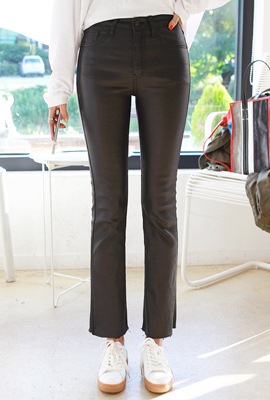 Coated Semi-Boot Cut Pants (2nd stock)