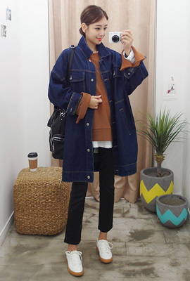 Stitch Big Pocket Long Denim Jacket (2nd stock)