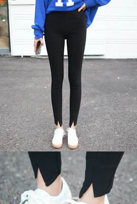 Banding trimmed span skinny pants (6th stock)